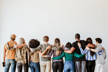 Group of people supporting each other
