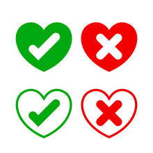 Check Mark Sign In Heart Shape...