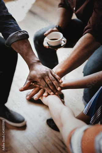 Fototapeta Team stacking hands obraz