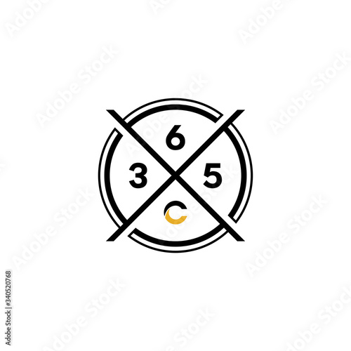 Fotografia, Obraz 365 number letter logo icon designs vector