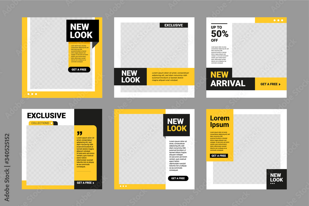 Fototapeta Set of Editable square banner template. Black and yellow background color with stripe line shape. Suitable for social media post, instagram and web internet ads. Vector illustration with photo college