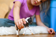 Little Six Year Old Kid Girl Playing At Home With A Children's Toy Horse Sitting On The Floor. Concept Of Quarantine Self-isolation Due To Covid-19 Corona Virus