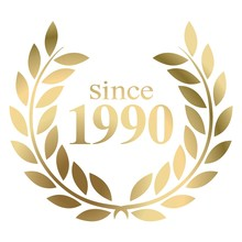 Year 1990 Gold Laurel Wreath Vector Isolated On A White Background