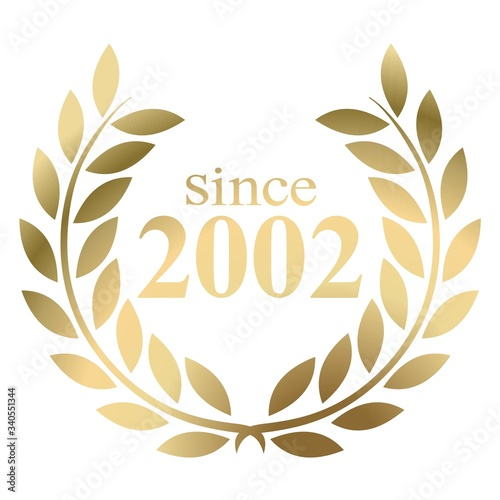 Tela Year 2002 gold laurel wreath vector isolated on a white background