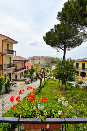 A narrow street between the old houses of Gesualdo, a village in the province of Canvas Print