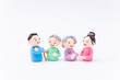 手作り紙粘土人形 老夫婦と若い男女 家族 介護