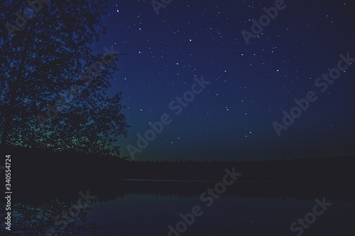 Fototapety, obrazy: Scenic View Of Lake Against Sky At Night