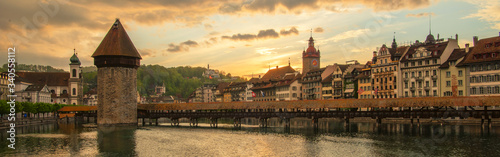 Kapellbrucke Panorama night view Historic Chapel bridge (Famous covered wooden f Canvas