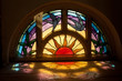 canvas print picture - Stained glass window sunrise