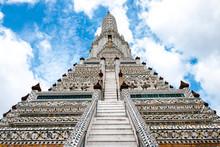 Chedi And Giant Or Yak Wat Arun At Phra Prang, Wat Arun, Arun Temple Bangkok Thailand.