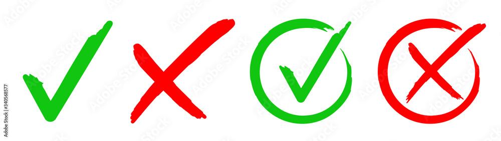 Fototapeta Set check mark and cross. Vector illustartion