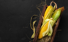 Fresh Corn Cobs On Black Background, Copy Space For Chalk Text