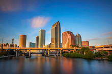 Tampa Skyline At Sunset With H...