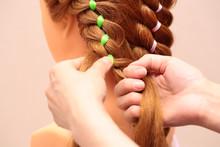 Girl Braids A Braid. Weaving B...