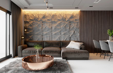 Living Room Design With Wall Corner Sitting In Natural Stone And Wood, Hidden Lighting, Dining Table And Decorative Plants