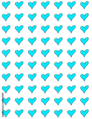 Seamless azure heart pattern Canvas Print