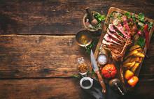 Grilled Meat, Sliced tom...