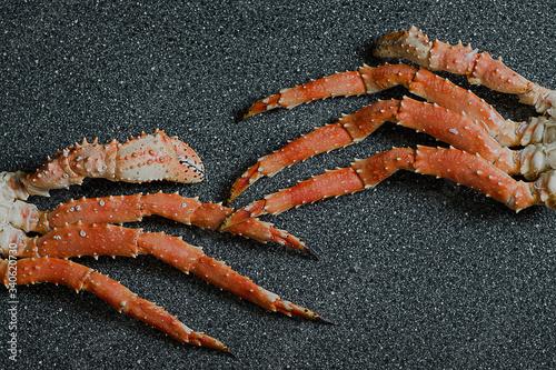 Photo crab, food, seafood, red, fresh, shellfish, sea, fish, cooked, claw, market, cru