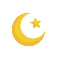 Moon And Stars. Yellow Moon An...