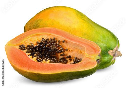 Obraz na plátně ripe papaya isolated on white clipping path