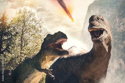dinosaur before extinction day due to asteroid impact Canvas Print