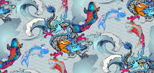 Pattern Of Asian Dragon And Japanese Fish. Vector Illustration. Suitable For Fabric, Wrapping Paper And The Like