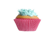 Isolated Cupcake With Blue Frosting In Pink Spotted Paper Cup