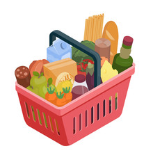 Red Shopping Basket With Different Food Isometric Illustration. Stock Vector. Grocery Shopping, Supermarket Illustration. Isolated On White.