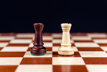 Two Chess Rooks On A Black Bac...