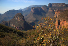 Magnificent Panorama Of The Famous Three Rondavels Of The Blyde River Canyon (South Africa) In Winter (July)