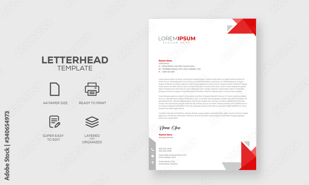 Fototapeta Abstract Letterhead Design Modern Business Letterhead Design Template, vector illustration with red shapes