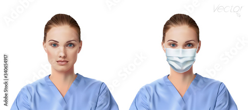 Valokuva Vector illustrations with woman, doctor or nurse portrait in blue medical robe, who is wearing security face mask, and without face mask