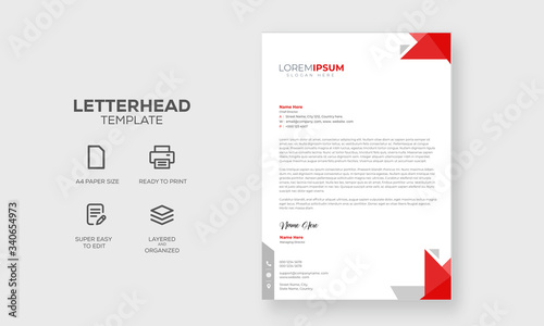 Fototapeta Abstract Letterhead Design Modern Business Letterhead Design Template, vector illustration with red shapes obraz