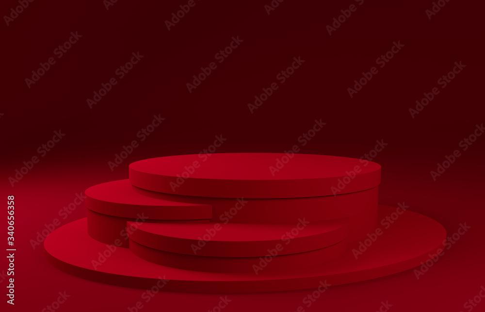 Fototapeta Red podium on a dark red background