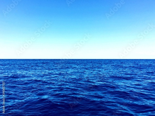 Scenic View Of Sea Against Clear Blue Sky Wallpaper Mural