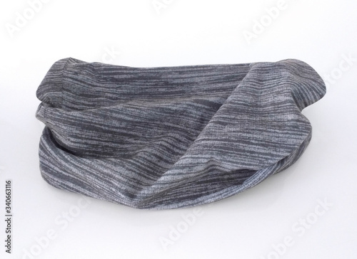 Aerial view of gray cotton neck scarf isolated on white background Wallpaper Mural