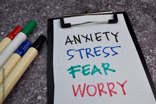 Anxiety, Stress, Fear, Worry write on sticky notes isolated on Office Desk Wallpaper Mural