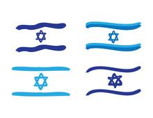 Set Of Blue White Israeli Flags On White Background