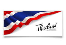 Flag Of Thailand Banner. Fabric Design Isolated On White Background, Vector Illustration