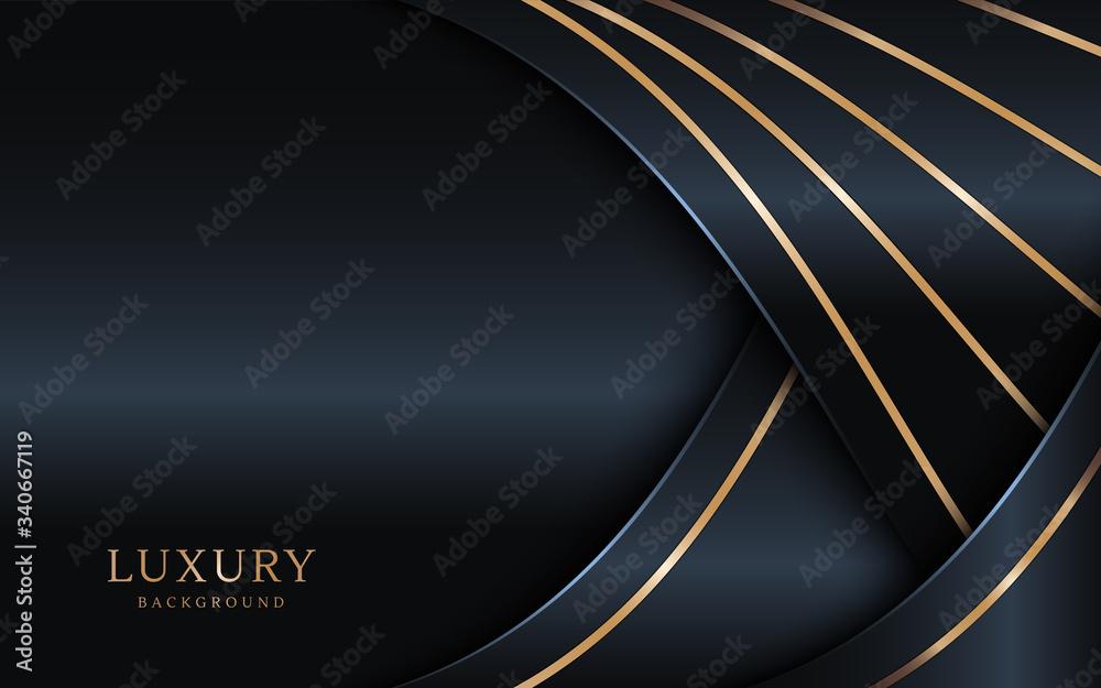 Fototapeta Luxury dark background combine with golden lines element.