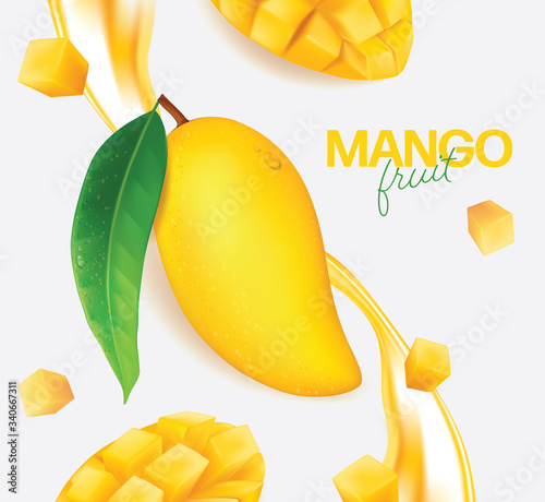 Carta da parati Fresh mango with slices and leaves Vector illustration