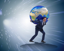 Businessman Carrying Earth On ...