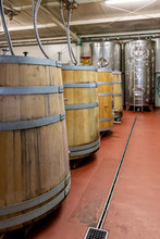 Wine Cellar With Wooden Barrel...