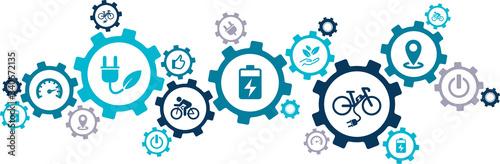 e-bike / pedelec icon concept: aspects of ebike riding / ecological mobility – v Wallpaper Mural