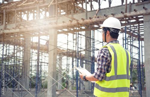 Vászonkép engineer working on building site..