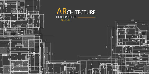 Architectural project on a black background .Construction of houses, structures, buildings.Technical drawing background.Engineering design .Vector , illustration.