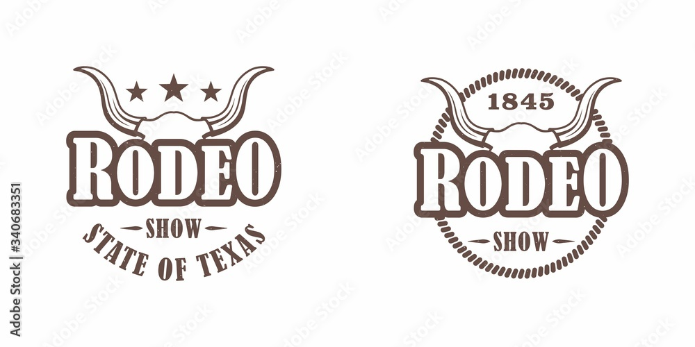 Fototapeta Set of color illustrations of a buffalo skull, stars, text and lasso on a white background. Vector illustration on the theme of the wild west of America. Rodeo show.