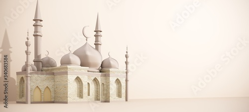 Leinwand Poster Ramadan Kareem greeting template with muslim mosque on the background of golden floral ornament