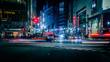 Vehicles On Illuminated City Street At Night