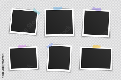 Fototapeta Vector Photo frame mockup design. Super set photo frame on sticky tape isolated on transparent background. Vector illustration obraz